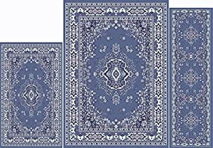 Home Dynamix Ariana Collection 3-Piece Area Rug Set - Ultra Soft & Super Durable 7069-310 Country Blue