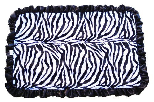 Patricia Ann Designs Stroller Blanket with Black Ruffles, Zebra with Hot Pink Swirl