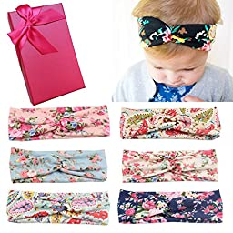 Elesa Miracle Hair Accessories Sweet Baby Girl\'s Gift Box with Chiffon Lace Hair Bow Flower Headband (6pc Set 4)