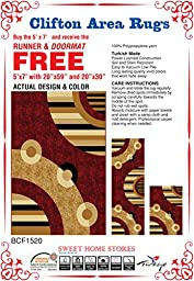 Stores Clifton Collection Red Modern Circles Design (20X31) - (20X59) - (5X7) 3 Piece Set Area Rug
