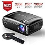 OKCOO Home Theater Video Projector, HD 1080P Cinema Movie Projector, Overhead LED Projectors for Business Powerpoint Presentation, Compatible with TV Stick HDMI VGA USB SD AV TV PC Laptop (Color: Black, Tamaño: M)