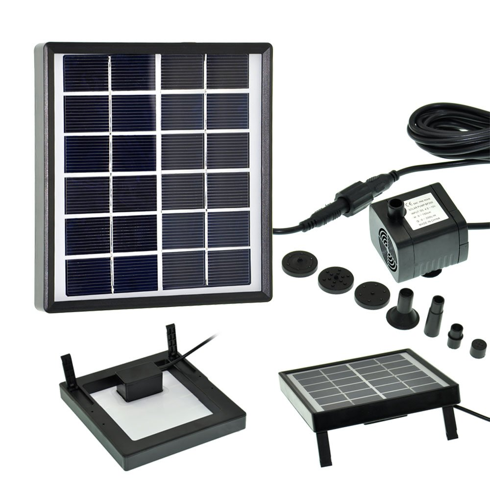 Lewisia 1.5W Outdoor Solar Fountain Pump Waterfall Decorative Submersible Kit