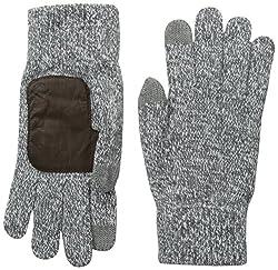 True Religion Men's 2-Tone Knit Glove, Factory Grey, One Size