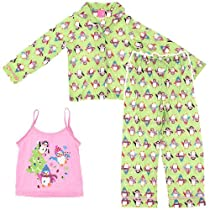 "J. Khaki ""Playful Penguins"" Lime Girls 3 Piece Flannel Coat Pajamas Set (7/8)"