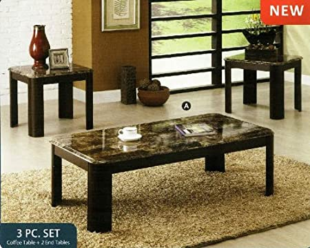 3 Pc. Carson Contemporary Style Faux Marble Coffee Table Set with Dark Cherry Wood Finish Legs