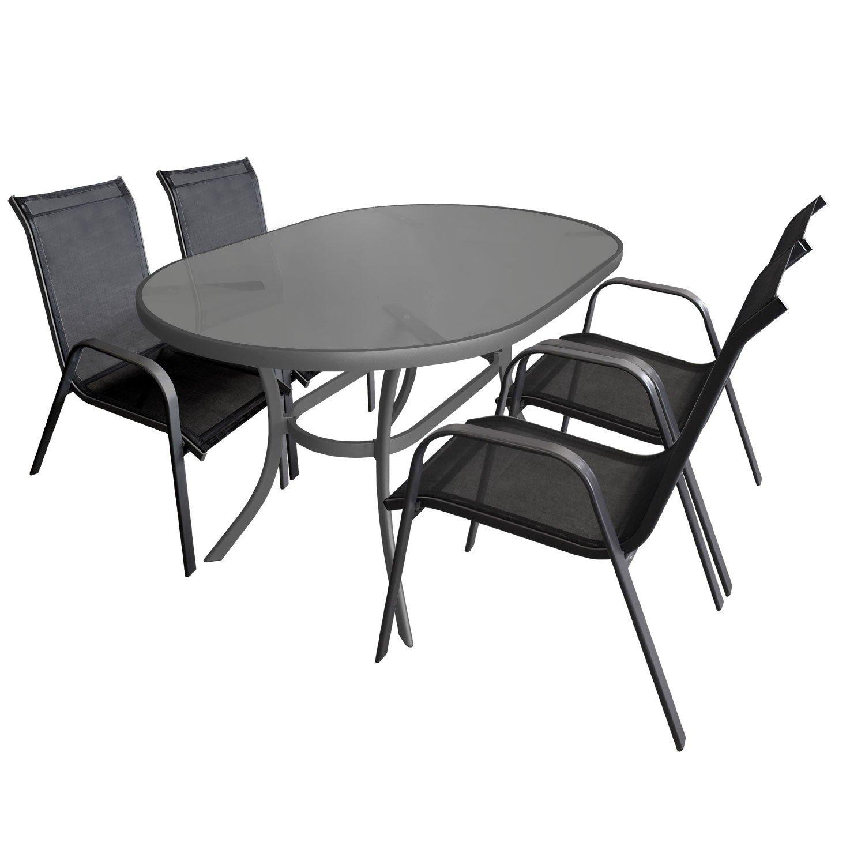5-teilige Gartengarnitur Sitzgruppe Glastisch 140x90cm oval Terrassenmöbel Aluminium Alu Stapelstuhl Textilen Sitzgarnitur Gartenmöbel