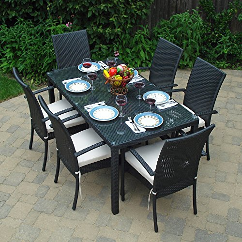 Patio furniture dining set with clear glass and umbrella hole with