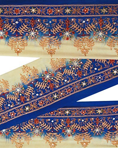 indian-vintage-sari-border-brode-bleu-garniture-de-couture-ruban-utilise-1yd-dentelle