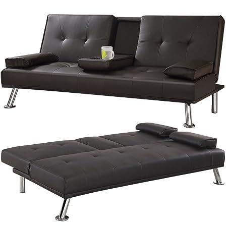 Piel sintética 3 plazas grandes Tinxs sofá cama futón con mesa abatible colchón sofás montés