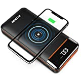 Wireless Portable Charger 25000mAh Power Bank with Digital Display LCD Screen Battery Pack with Three Outputs&Dual Inputs Huge Capacity Backup Battery Compatible Android Phones,Tablet and More (Color: wireless power bank)