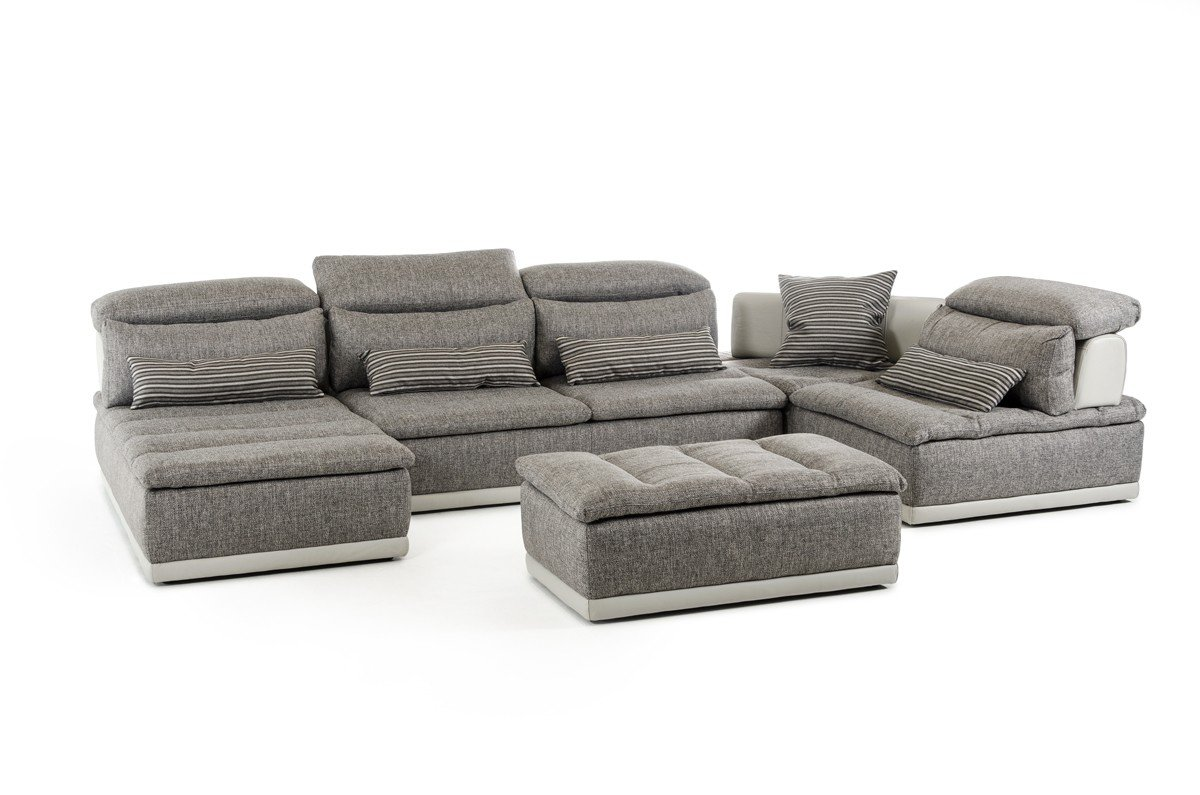 Lusso Panorama Italian Modern Grey Fabric & Grey Leather Sectional Sofa