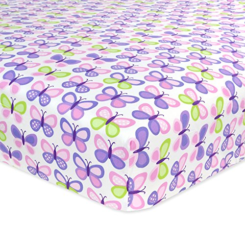 Carter's Cotton Fitted Crib Sheet, Butterfly/Pink/Purple - 1