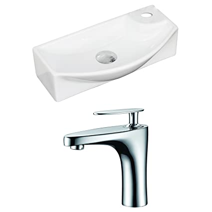 "American Imaginations AI-15346 Rectangle Vessel Set with Single Hole CUPC Faucet, 18"" x 9"", White"