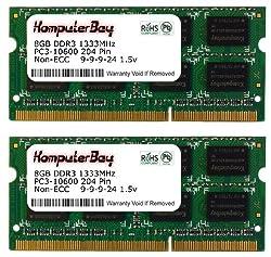 Komputerbay 16GB (2x 8GB) PC3-10600 10666 1333MHz SODIMM 204-Pin Laptop Memory 9-9-9-24 for PC only - not MAC