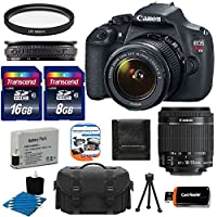 Canon EOS Rebel T5 18MP EF-S Digital SLR Camera USA warranty with Canon EF-S 18-55mm f/3.5-5.6 IS Zoom Lens + Deluxe Case + Extra Battery Pack + UV Filter with 32GB Memory Card Complete Deluxe Accessory Bundle by Canon