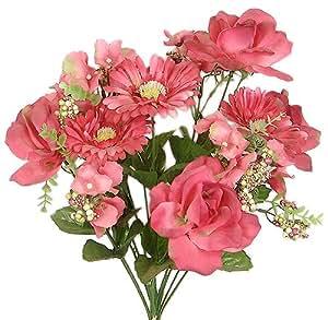 "18"" Silk Rose & Daisy Mixed Flower Wedding Bush Bouquet - Burgundy #t2"