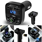 ??MChoice??Wireless Bluetooth Handsfree Car Kit FM Transmitter MP3 Player Dual USB Charger (Color: Black, Tamaño: Size: Full size)