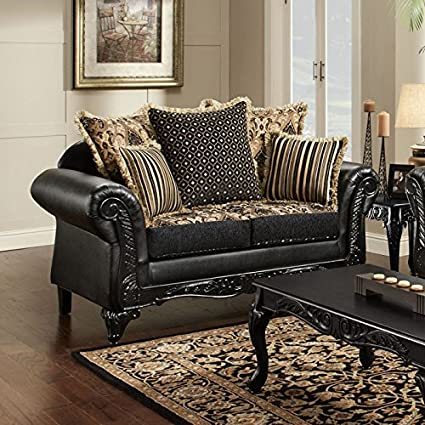 Gwendolyn Fabric & Faux Leather Loveseat by Chelsea Home