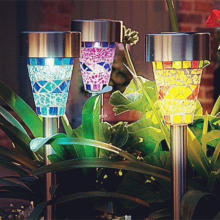 Sogrand 3Pack Mosaic Decoration Stake Light Solar Light With 3 Color Mosaic Lampshade (3 lights in one color box)Solar Garden Lights,Solar Pathway Lights,Solar Led lights