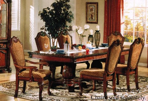Double Pedestal Dining Table Cherry Finish