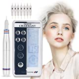 Electric Digital Permanent Eyebrow Lip Eyeliner Tattoo Pen Makeup Tattoo Machine with 6 Types Needle and LCD Display, Teaching CD (Silver) (Color: Silver)