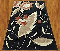 Homemusthaves Black Beige Brown Red Orange New Modern Contemporary Floral 3D Polyester Wool Area Rug Carpet (2.6x4 Feet)