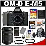 Olympus OM-D E-M5 Micro 4/3 Digital Camera & 14-42mm II Lens (Black/Black) with M.Zuiko 40-150mm Zoom Lens + 32GB Card + Backpack + Battery & Charger + Filters + Accessory Kit