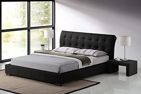 Modern Furniture Direct Fabio Double Designer Leather Bed Frame, and 8-Inch Deluxe Memory Foam Mattress 4 ft 6-Inch, Black