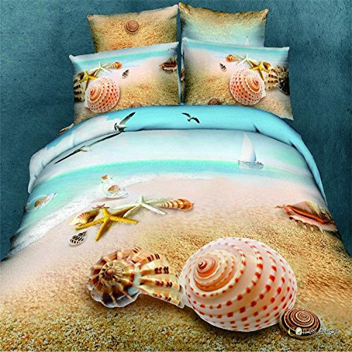 Shinichistar Seashells, Beach Theme, Nautical 3d Bedding Duvet Cover Set Cotton Twin with fitted sheet (Beach Theme Sheets compare prices)