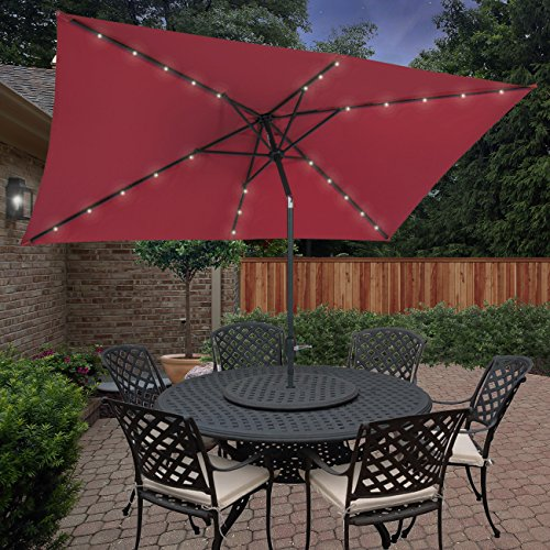 BCP 10'x6.2' Deluxe Solar LED Lighted Rectangle Patio Umbrella W Tilt Sunshade (Lighted Outdoor Umbrella compare prices)