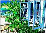 鈴木英人小作品 版画 「フィギュア オブ ハミルトン ビーチ」 フレーム 付き