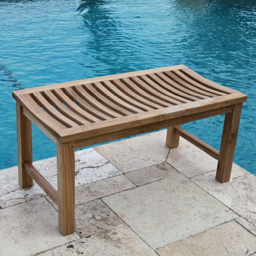 36u2033 solid teak indoor outdoor bench shower stool - Teak Shower Bench