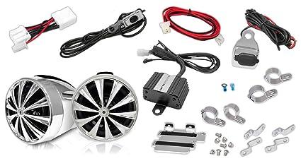 Lanzar OPTIMC90 Paire d'enceintes avec Amplificateur pour Moto/Scooter/Vélo/Motoneige 700 W 4 voies Entrées 3,5 mm/USB Argent