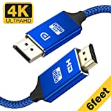 Capshi DisplayPort to HDMI Cable - 6Ft 4K UHD Nylon Braided Blue Gold-Plated DP-to-HDMI Unidirectional Cord DP to HDMI Male Chords Display Port to HDTV Monitor Video Connector DP to HDMI Ports Adapter (Color: Blue, Tamaño: 6 FT DP to HDMI cable)