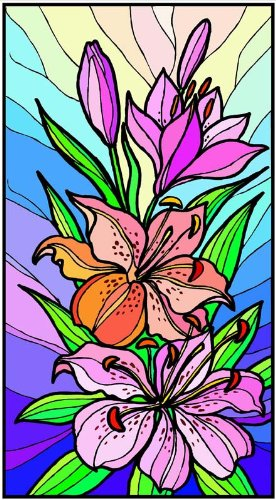 Purple Amp Orange Stargazer Lily Flowers Etched Vinyl