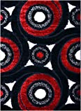 Royal Collection Black Red and White Swirl Abstract Contemporary Design Shaggy Shag Area Rug (6063) (3'x5')