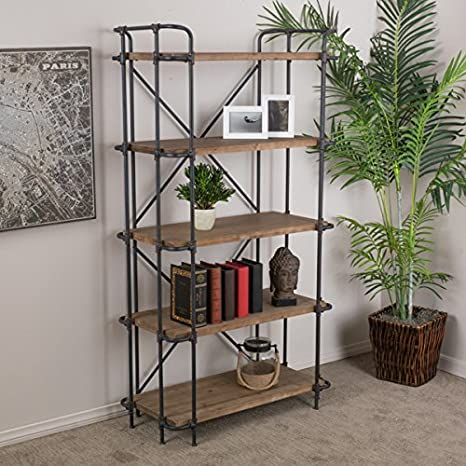 Christopher Knight Home Yorktown 5-Shelf Industrial Bookcase with an Antique Metal Finish, Brown