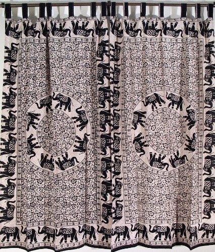2 Elephant Mandala Cotton Living Room Tab Top Curtains