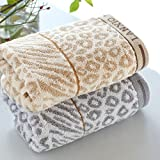YIHENG Towel 33 x 74 cm Exquisite Pure Cotton Leopard Pattern Brown and Grey Soft Face Cloth Towel - 2PCS Package