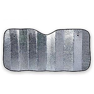 MOON GAZER 2 pack of 130cm*60cm Foldable Car Front Rear Windshield Sunshade Sun Shade-Silver