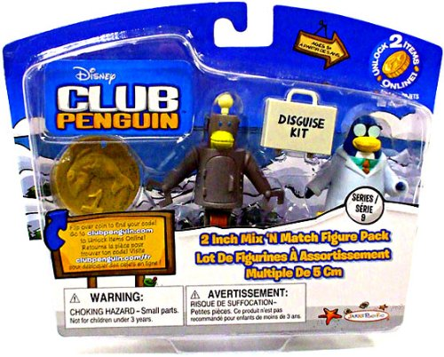 Buy Low Price Jakks Pacific Disney Club Penguin Series 9 Mix N Match Mini Figure Pack Gary The Gadget Guy Robot Includes Coin with Code! (B0043ENC2M)