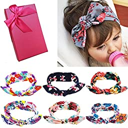 Elesa Miracle Hair Accessories Lovely Baby Girl\'s Gift Box with Bow Flower Hair Headband (6pc Set A)