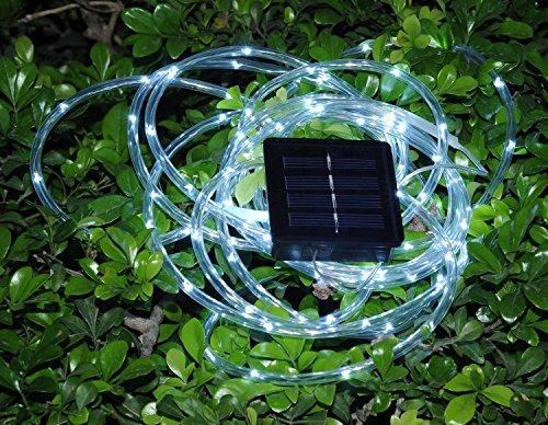 Solar Rope Tube 100 LED Starry String Garden Light 17 feet long total length (Pure white) Home ...