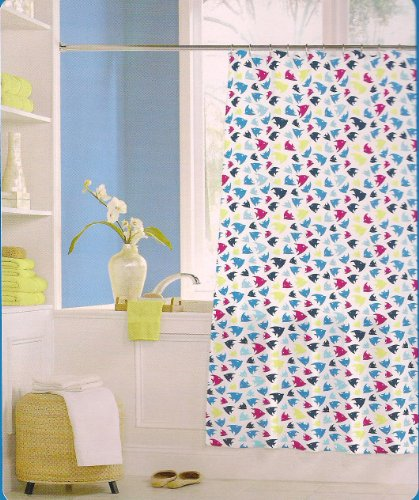 Crystal Bay Splash Vinyl Shower Curtain Tropical Fish Theme
