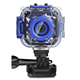 DROGRACE Children Kids Camera Waterproof Digital Video HD Action Camera 1080P Sports Camera Camcorder DV for Boys Birthday Holiday Gift Learn Camera Toy 1.77'' LCD Screen (Navy Blue) (Color: Navy Blue, Tamaño: 6.6*5.1*2.7)