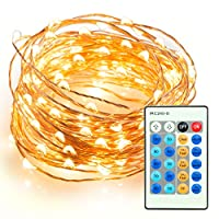TaoTronics Outdoor String Lights, Dimmable LED String Lights for Bedroom, Patio, Party, Christmas Tree, Decorations ( 100 LEDs, 33 ft Copper Wire, Warm White, Remote Control ) from TaoTronics