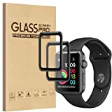[2 Pack] Fotbor for Apple Watch 42mm Screen Protector Series 3 /2 /1, [Full Coverage] Tempered Glass Screen Protector Anti-Scratch Anti-Bubble 3D Curved Edge Compatible for Apple Watch (Black) (42mm) (Color: 42mm)