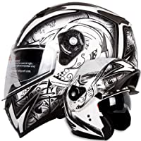 Dual Visor Modular Flip up Matte Black and White Demon Samurai Motorcycle Snowmobile Helmet DOT (M) by Ivolution Sports, Inc