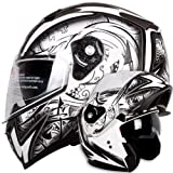 Dual Visor Modular Flip up Matte Black and White Demon Samurai Motorcycle Snowmobile Helmet DOT (M)