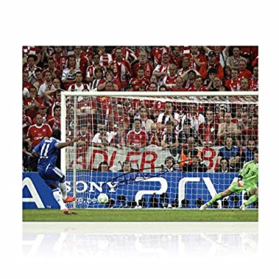 Didier Drogba Signed Chelsea Soccer Photo: Champions League Penalty